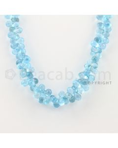7.70 to 8.70 mm - 1 Line - Blue Topaz Drop Beads - 17 inches (BT1006)