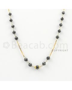 3.50 to 5.00 mm - 1 Line - Black Diamond Faceted Beads Wire Wrap Necklace - 18 inches (GWWD1011)