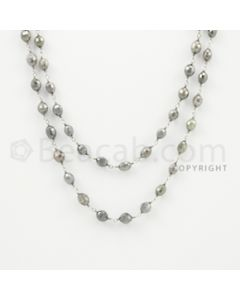 4.30 to 6.00 mm - 1 Line - Gray Diamond Drum Beads Wire Wrap Necklace - 40 inches (GWWD1039)