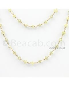 3.20 to 4.60 mm - 1 Line - Yellow Diamond Faceted Beads Wire Wrap Necklace - 40 inches (GWWD1047)