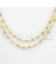 2.20 to 3.00 mm - 1 Line - Yellow Diamond Faceted Beads Wire Wrap Necklace - 40 inches (GWWD1050)