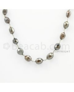 5.80 to 9.40 mm - 1 Line - Brown Diamond Drum Beads Wire Wrap Necklace - 18 inches (GWWD1055)