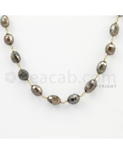 7.80 to 9.20 mm - 1 Line - Brown Diamond Drum Beads Wire Wrap Necklace - 18 inches (GWWD1059)