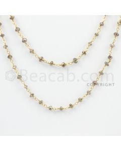 2.50 to 3.00 mm - 1 Line - Brown Diamond Faceted Beads Wire Wrap Necklace - 40 inches (GWWD1060)