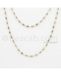 2.10 to 3.00 mm - 1 Line - Brown Diamond Tube Beads Wire Wrap Necklace - 40 inches (GWWD1066)