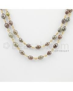 3.20 to 7.60 mm - 1 Line - Fancy Diamond Drum Beads Wire Wrap Necklace - 32 inches (GWWD1077)