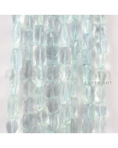 7.50 to 14.00 mm - 8 Lines - Aquamarine Faceted Rectangle Beads - 15 inches (AqFReB1002)