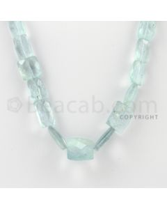 8.00 to 14.00 mm - 1 Line - Aquamarine Faceted Rectangle Beads - 20 inches (AqFReB1005)