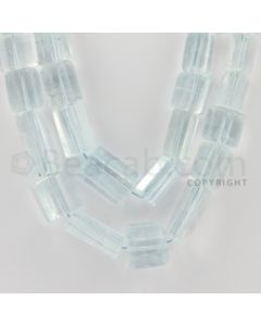 7.00 to 22.00 mm - 2 Lines - Aquamarine Tube Beads - 23 inches (AqTubeB1005)