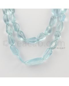 6.50 to 25.00 mm - 2 Lines - Aquamarine Tumbled Beads - 16 to 18 inches (AqTuB1026)