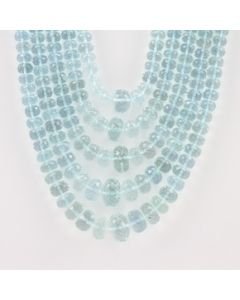 5.50 mm to 13.50 mm - Medium Blue Aquamarine Faceted Beads - 948.60 carats (AqFRoB1006)