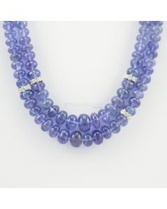 5 to 9.50 mm - 2 Lines - Tanzanite Gemstone Smooth Beads - 357.22 carats (CSNKL1089)