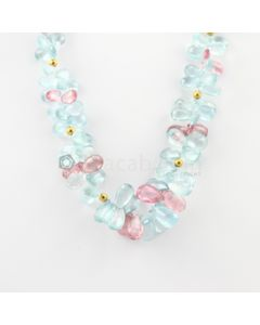 9 to 15.50 mm - 1 Line - Aquamarine and Tourmaline Drop Necklace - 262.68 carats (CSNKL1094)