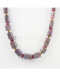 10 to 15 mm - Medium Purple Kunzite Tube Necklace - 285.00 carats (CSNKL1148)