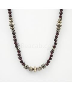 5.50 to 6 mm - Dark Purple Garnet Smooth Necklace - 208.65 carats (CSNKL1151)