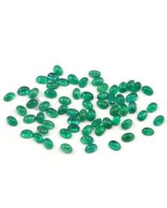 6 x 4 mm - Medium Green Oval Emerald Cabochons - 65 pieces - 32.90 carats (EmCab1015)