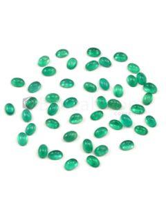 6 x 4 mm - Medium Green Oval Emerald Cabochons - 46 pieces - 22.64 carats (EmCab1018)