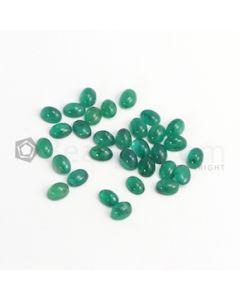7 x 5 mm - Dark Green Oval Emerald Cabochon - 31 pieces - 25.65 carats (EmCab1055)