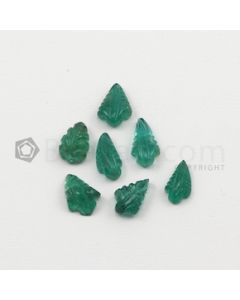 8 x 4.50 mm to 9 x 5 mm - Medium Green Emerald Carving - 7 pieces - 5.22 carats (EmCar1019)