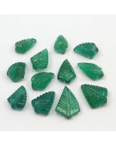 11.50 x 8 mm to 18 x 13 mm - Medium Green Emerald Carving - 12 pieces - 46.66 carats (EmCar1023)