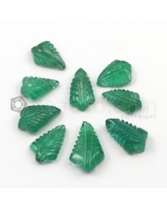 12 x 8.50 mm to 14.50 x 8.50 mm - Medium Green Emerald Carving - 9 pieces - 26.55 carats (EmCar1026)