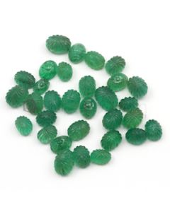 7 x 5 mm to 10 x 7 mm - Medium Green Emerald Carving - 31 pieces - 50.67 carats (EmCar1029)