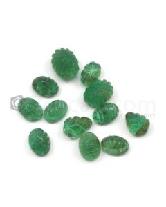 6.50 x 4.50 mm to 8.50 x 6 mm - Medium Green Emerald Carving - 12 pieces - 11.08 carats (EmCar1032)