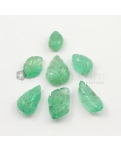 11 x 7.50 mm to 18 x 9 mm - Light Green Emerald Carving - 7 pieces - 38.88 carats (EmCar1038)