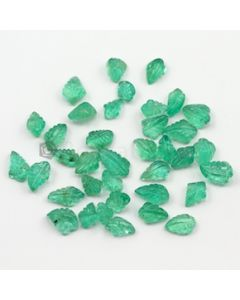 8 x 5 mm to 11.50 x 6.50 mm - Medium Green Emerald Carving - 37 pieces - 38.08 carats (EmCar1049)
