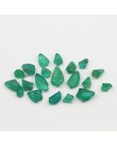 7 x 5 mm to 13.50 x 7.50 mm - Medium Green Emerald Carving - 20 pieces - 25.46 carats (EmCar1051)