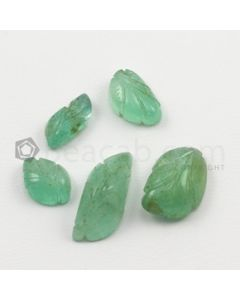10 x 7.50 mm to 18 x 7.50 mm - Light Green Emerald Carving - 5 pieces - 17.63 carats (EmCar1052)