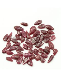 10.50 x 6.50 mm to 16 x 10 mm - Medium Red Ruby Leaf Shape Carving - 52 piece - 153.00 carats (RCar1010)