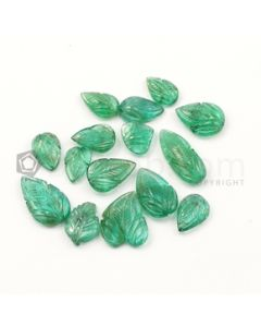 10.50 x 7 mm to 18.50 x 8 mm - Dark Green Emerald Carving - 15 pieces - 39.54 carats (EmCar1060)