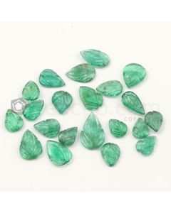 8.60 x 7 mm to 15.50 x 10 mm - Medium Green Emerald Carving - 21 pieces - 31.41 carats (EmCar1061)