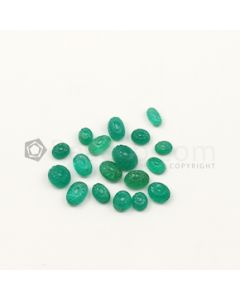 5.50 x 4.80 mm to 9 x 7 mm - Medium Green Emerald Carving - 8 pieces - 17.64 carats (EmCar1067)