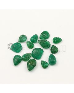 9 x 8 mm to 13 x 11 mm - Dark Green Emerald Carving - 14 pieces - 35.48 carats (EmCar1070)
