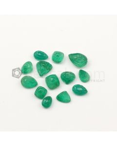 8.40 x 6 mm to 13.50 x 9 mm - Medium Green Emerald Carving - 13 pieces - 30.26 carats (EmCar1075)