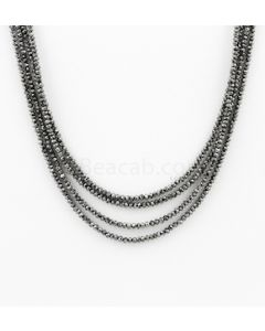 2 to 2.50 mm - Black Diamond Faceted Beads - 4 Lines - 60.50 carats (BDia1021)