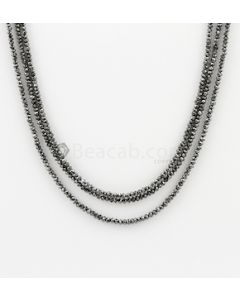 2 to 2.40 mm - Black Diamond Faceted Beads - 3 Lines - 45.50 carats (BDia1022)