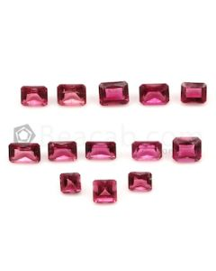 4.20 x 4.20 mm to 6.40 x 4.20 mm - Dark Pink Tourmaline Emerald Cut - 13 Pieces - 8.66 carats (ToCS1109)
