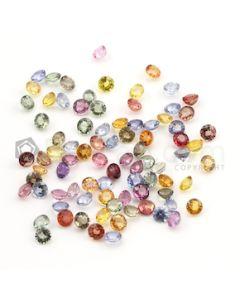 4 mm - Medium Tones Multi-Sapphire Round Cut Stones - 84 Pieces - 30.40 carats (MSCS1019)