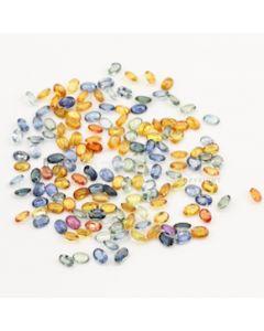 6 x 4 mm - Dark Tones Multi-Sapphire Oval Cut Stones - 152 Pieces - 87.07 carats (MSCS1033)