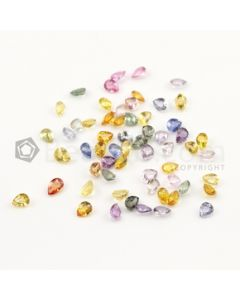 5 x 4 mm - Medium Tones Multi-Sapphire Pear Cut Stones - 60 Pieces - 24.2 carats (MSCS1038)
