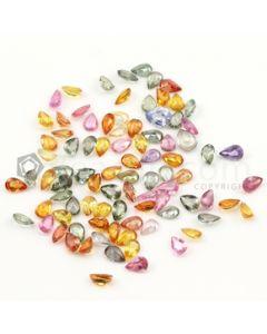 6 x 4 mm - Dark Tones Multi-Sapphire Pear Cut Stones - 88 Pieces - 44.77 carats (MSCS1041)