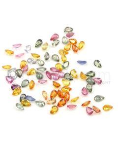 6 x 4 mm - Dark Tones Multi-Sapphire Pear Cut Stones - 73 Pieces - 37.10 carats (MSCS1042)