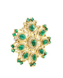 "Yellow Gold, Emerald and Diamond Brooch, Dia. 2 1/4"" - 28.40 grams - EST1123"