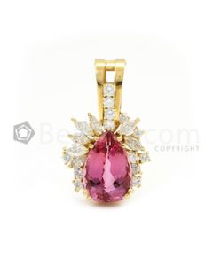 Yellow Gold, Pink Tourmaline and Diamond Enhancer - 11.21 grams - EST1130