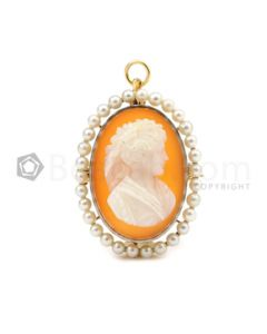 19th C. Yellow Gold, Natural Pearl and Hardstone Cameo Pendant/ Pin - 10.00 grams - EST1136