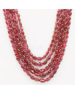 5.00 to 9.00 mm - Medium Purple-Red Spinel Tumbled Beads - 5 Lines - 393.38 carats - SPNTUB1001