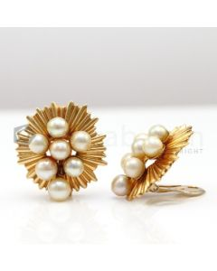 14kt Yellow Gold and Cultured Pearl Earrings, Pair  - 25.1 grams - EST1212